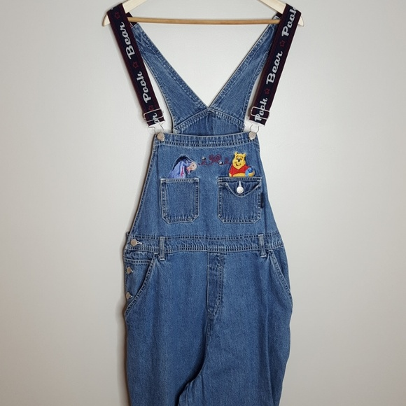 Vintage In /& Out Pinstriped Overalls Dress Women Size 16